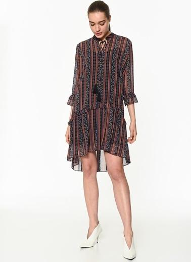 Twist Fırfır Şeritli Şifon Elbise Lacivert